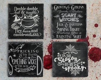 Halloween Decor Chalkboard Quote Coaster Set, Slate Drink Coaster Set of Four, Holiday Coaster Set, Housewarming Gift, Chalk Board Quotes