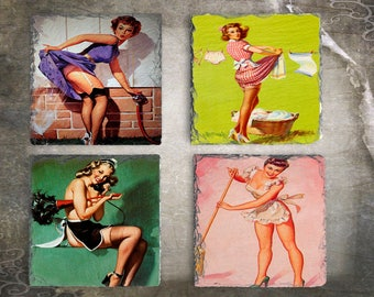 Retro Pinup Drink Coaster Set, Pinup Party Favor, Game Room Decor, Man Cave Gift Idea, Retro Barware, Vintage Pinup Gift, Retro Pinup Girls