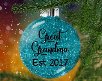 Great Grandpa Glitter Ornament, Great Grandma Glittered Bauble, Tree Memento for Grandparent, Pregnancy Reveal Hanging Decor Grandparents