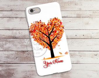 Autumn Leaves and Tree, Heart 3D Phone Case, Iphone 6 7 7+ Samsung Galaxy S5 Thin Hard Case, Personalize with Name or Text, Mobile Full Wrap