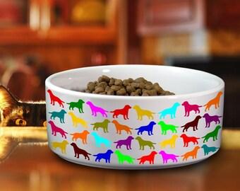 Labrador Lab Ceramic Bowl for Dog, Colorful Watercolor Pet Water Food Bowl, Funny Dish for Dog Pet, Custom Dog Bowl, Retriever Love