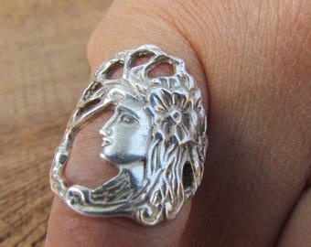 Vintage Sterling Silver Art Nouveau Ring, Goddess Ring, Ring Size 5