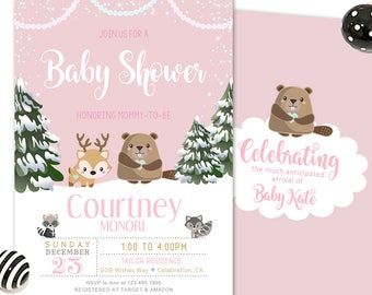 Forest Friends Baby Shower Invitation, Winter Woodland Baby Shower Invitation, Winter Baby Shower, Printable or Printed Invites for a Girl