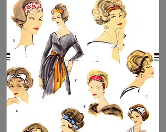 Vintage Vogue Accessory Set Sash Scarf Veil Headband / Bow Fabric sew pattern #9576 Copy