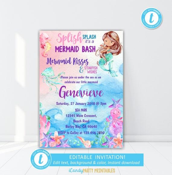 Mermaid Invitation Party Little Invite