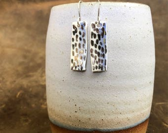 Handmade Ceramic and White Gold Earrings | White Gold Earrings | Dangle Earrings | Drop Earrings | Modern Jewelry