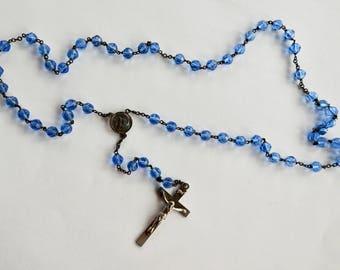 Blue Cut Glass Rosary
