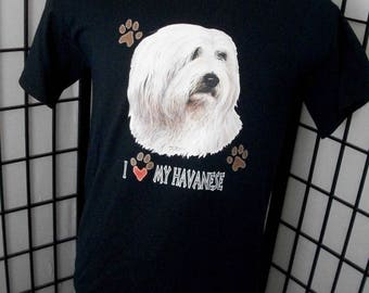 I love My Havanese - dog lover t-shirt Medium black cotton tee - Makes a great gift!