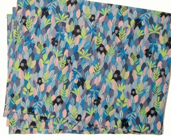 Large Cloth Placemats - Sets of 2 - Gorillas Monkeys Animals Blue Pink Green Black -  Reversible