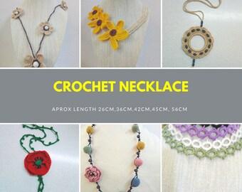 crochet necklace,flower necklace