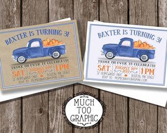 Blue Truck Invitation Pumpkins - Pumpkin Patch Birthday Invitation - Fall Birthday Invitation - 1st Birthday - Little Blue Truck on Burlap
