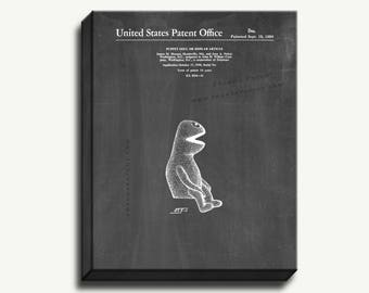 Canvas Patent Art - Kermit the Frog Puppet Gallery Wrapped Canvas Print