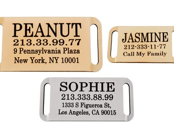 Slide On Dog Tag Personalized Collar Slider Pet ID Name Custom Engraving 24K Gold Plated Brass Steel