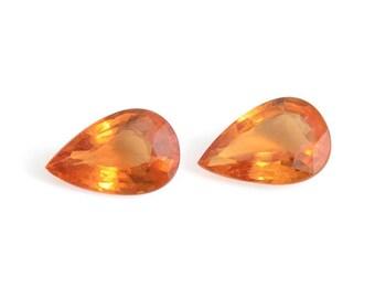 Orange Sapphire Set of 2 Loose Gemstones Pear Cut 1A Quality 6x4mm TGW 0.75 cts.