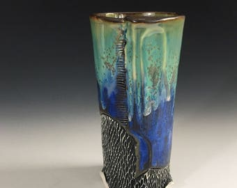 Tall Cup, Tumbler in Green and Blue Crystalline Glaze, One of a Kind Ceramic Drinking Glass or Beer Glass.  16 oz.  6.75 in Tall, Food Safe