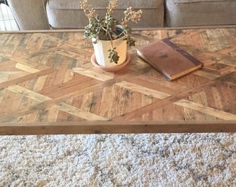 Reclaimed lath wood coffee table - Large living room decor Art Deco w/ hairpin legs rustic