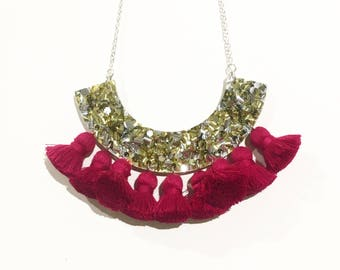 Gold and silver glitter necklace with fuchsia tassels, statement necklace, laser cut necklace