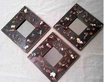 Shell and Copper accented Set of three Petite Mirrors