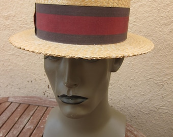 Size 6 7/8 **  Incredible 1930s High-End Boater Hat Deadstcok Unworn)