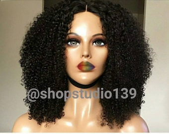 kinky curly natural looking  lace front wig Remy Human Hair