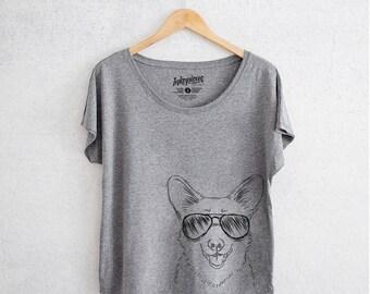 Ricco Corgi Aviators - Tri-Blend Dolman Grey - Dog Lover Gift, Dog Mama TShirt, Love My Dog, Gift for Mom, Fur Mama Shirt, Corgi, Corgi Gift