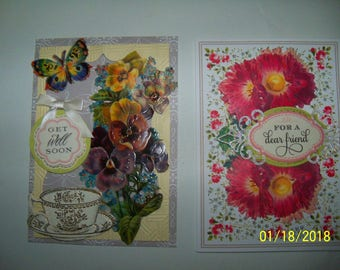 Set of two Get Well greeting cards