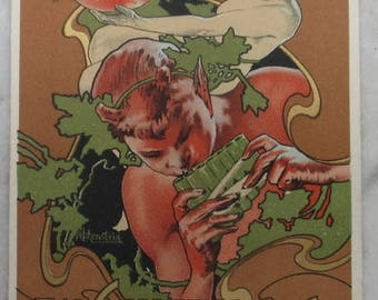 Cinzano original art nouveau advertising postcard musician faun & lady