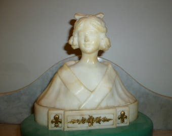 Art Nouveau alabaster French bust of a lady on wood base circa 1900s