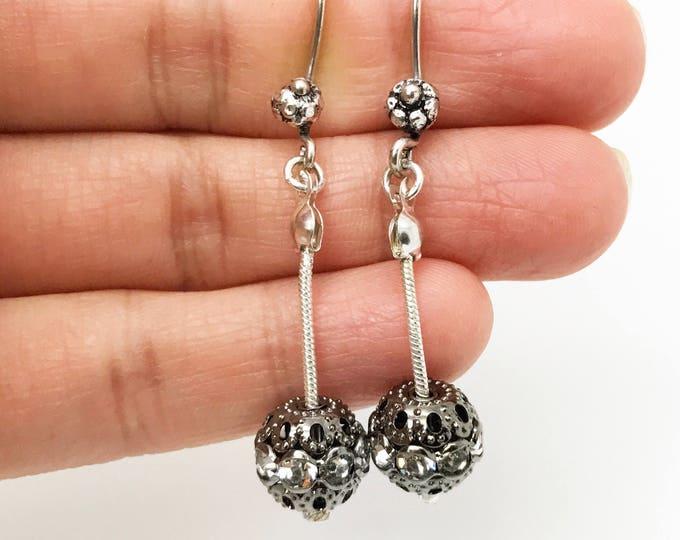 Silver Boho Dangle Earrings - Bohemian Drop Earrings - Silver Bali Earrings - Simple Everyday Silver Earrings, Silver ball earrings