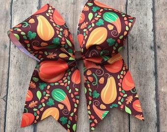 Pumpkin Cheer Bow, Pumpkin hair bow, Thanksgiving Cheer Bow, Thanksgiving hair bow