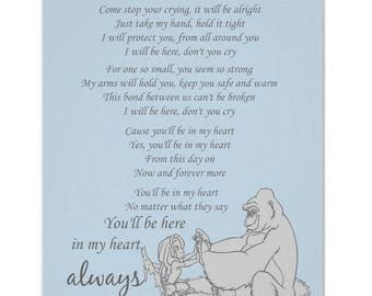 Tarzan etsy youll be in my heart tarzan lyrics disney print baby blue stopboris Images