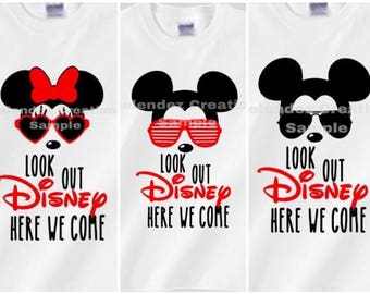 Look Out Disney Here We Come Family Trip Shirts