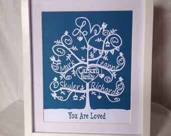 Family Tree Design - hand cur papercut - family tree art - home decor - Birthday gift | wedding gift | anniversary gift | Christmas gift