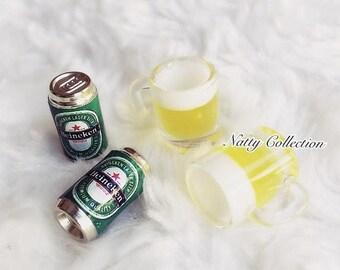 MidYear Sale15% Miniature Beer Mug,Miniature Beer Can,Miniature dolls house,miniature beer,miniature jewelry,Beer,Miniature Drink,Miniature