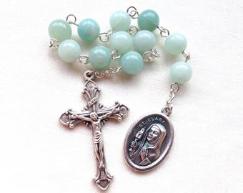 St Clare of Assisi pocket rosary made with turquoise amazonite beads, Catholic rosary tenner, handmade gemstone rosary