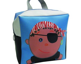 Pirate Lovers Backpack by Little Packrats, Toddler Size Pirate Boy Backpack for Snacks and Toys