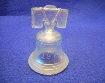 Vintage Joe St-Clair Irridescent White Glass Bicentennial-LIBERTY-BELL