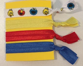 Sesame Street Print Elastic Hair Ties: Set of Four