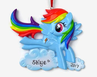 30% OFF SALE - Rainbow Dash Personalized Ornament - My Little Pony - Hand Personalized Christmas Ornament