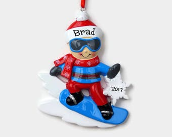 SHIPS FREE - Snowboarder Personalized Ornament - Hand Personalized Christmas Ornament