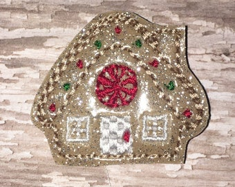 Set of 4 Gingerbread House Felties Christmas Santa Gingerbread Ginger Bread Cookie Hairbow Feltie Felt Embellishment Bow! Planner Clip