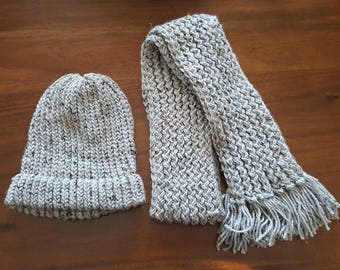 Double thick knitted winter hat and scarf set/ scarf and hat set/ made and ready to ship