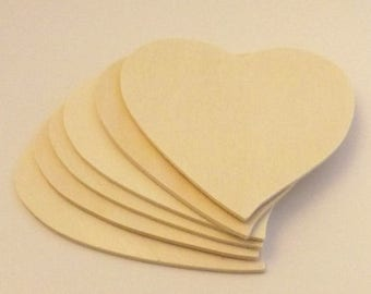"""SUMMER SALE Free Shipping! 6 pieces Large 4 3/4"""" x 3mm Unfinished Wood Hearts / Heart Cutouts"""