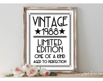 INSTANT 'Vintage 1988 Limited Edition One of a Kind' Printable 30th Birthday Party Sign Aged to Perfection Size Options Thirties