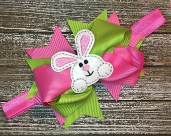 Easter Bunny Bow on Adjustable Headband