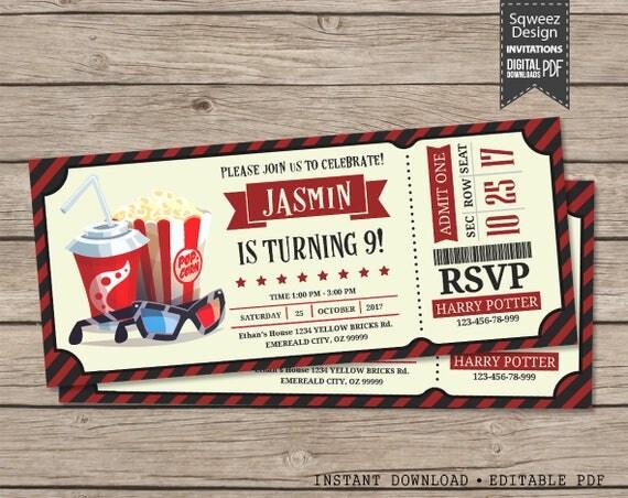 movie theme invitation