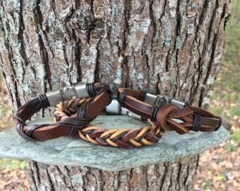 Men's Leather Bracelet Gift For Men Gift For Boyfriend  Bracelets Leather Mens Bracelet With Secure Metal Clasp 3P-8