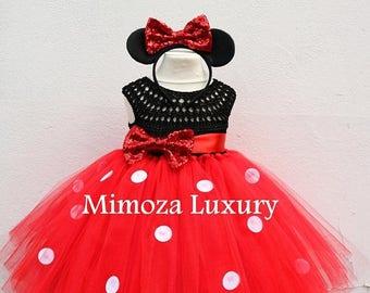 SALE Mickey mouse dress, mickey mouse birthday dress, Flower girl dress, birthday tutu dress, miki mouse theme princess dress