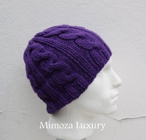 Purple Men's Beanie hat, Hand Knitted Hat in purple beanie hat cap, knitted men's, women's beanie hat, winter beanie, purple ski hat