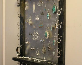 ON SALE You Get to Pick the Stain and Mesh Wall Mounted Jewelry Organizer, Wall Organizer, Jewelry Display Necklace Holder Earring Organizer